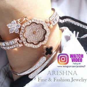 Rose Gold Swarovski Crystals Luxury Quartz Watch